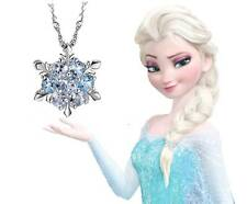 925 Sterling Silver Frozen Princess ELSA Swarovski Crystal Necklace Snowflake SP