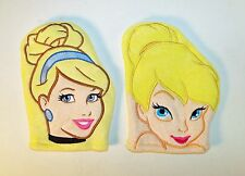 Set of 2 Cinderella and Tinkerbell Terry Cloth Bath Mitts