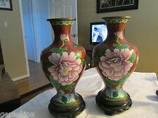 cloissone vases-pair,with wood stand