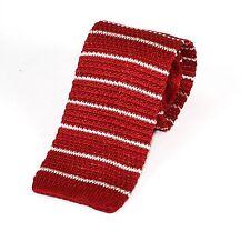 Men's Fine Striped Red & White Silk Knitted Tie (N997/54)