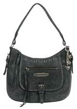 Harley-Davidson Women's Perforated H-D HOBO Purse, Black Leather PF3128L-BLACK