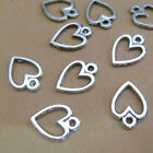 100pc Charms Peach heart Pendant Beads Crafts Tibetan Silver Accessories S702S