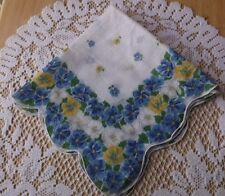 """VINTAGE LADIES HANKY 15"""" X 16"""" MEDIUM AND SMALL BLUE/WHITE/YELLOW FLOWERS LINEN"""