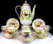 VINTAGE SPODE BONE CHINA ENGLAND HAND PAINTED ENGLISH GARDEN BIRDS COFFEE SET