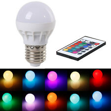 AT6 3W E27 AC 85-265V RGB LED Light Bulb Lamp Color Changing+IR Remote Control