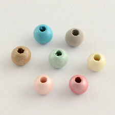 100pcs Round Wood Beads Dyed Spacer Charms Mixed Color Bracelet Necklace Making