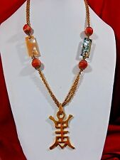 RARE VTG MIRIAM HASKELL SIGNED ASIAN ORIENTAL ART GLASS CARVED MOP LONG NECKLACE