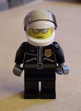 Lego Polizei Figur ( Polizist schwarz Uniform Helm Stadt Town ) City Neu