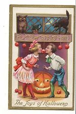 Vintage Postcard Joys of Halloween JOL Children Girl Boy Jackolantern Apples Cat
