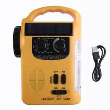 Yellow Emergency Solar Dynamo Radio LED Lights Charger Crank hv2n