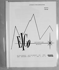 Eico ST-84 ST84 tube stereo preamplifier manual reprint