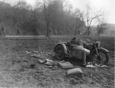 WWII Photo German Motorcycle Soldier Dead  WW2 / 2125