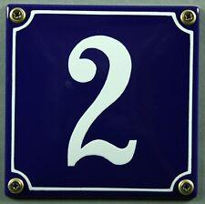 """Blaue Emaille Hausnummer """"2"""" 12x12 cm Hausnummernschild sofort lieferbar Schild"""