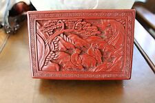 Chinese Cinnabar Lacquer Jewelry Box Monk with Student 100+ yrs old L@@K!!  NR !