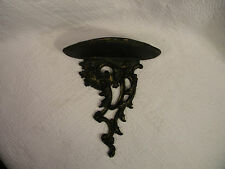 Vintage Syroco Wood Wall Hanging Sconce Shelf Black with Antique Gold, Excellent