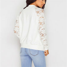 Fashion Womens Crochet Lace Bomber Jacket Long Sleeve Zipper Cardigan Coat Tops