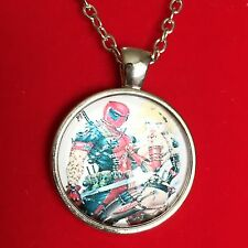 925 Silver Plt Cabochon Harley Quinn Deadpool Pendant Necklace Ladies Girls Gift