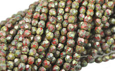 100 OPAQUE RED PICASSO FACETED ROUND GLASS BEADS 4MM