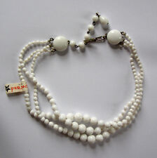 VINTAGE CHOKER JAPAN WHITE MILK GLASS BEADED NECKLACE 3 STRAND NWT ORIGINAL TAG