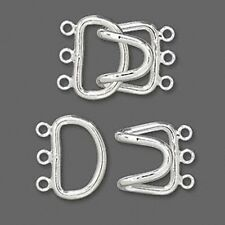 Hook-and-Eye Large Silver Plated 3-strand Jewelry Clasps  2 sets