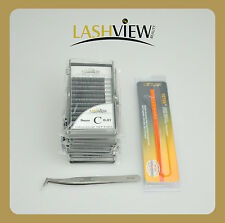 4 trays 0.07mm 8/10/12/14mm Eyelash Extensions with 6A-SA Tweezers for 3D Lashes