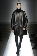 NWT JIL SANDERS RUNWAY FW'14 BLACK LEATHER JACKET COAT sz IT52 NM654703