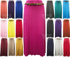 Ladies Womens Gypsy Long Jersey Belted Maxi Dress Skirt Bodycon Slim Summer