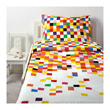 IKEA Flyga Twin Duvet Cover Set Pillowcase Orange Pink Blue NEW Modern Fun Cube