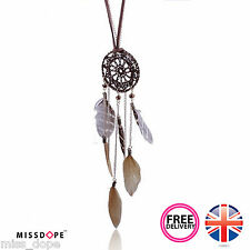NEW FEATHER TASSEL LONG CHAIN NECKLACE PENDANT DREAM CATCHER WOMENS GYPSY GOLD