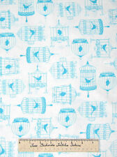 Timeless Treasures Fabric - Tweet Aqua Bird Cage on White Modern Quilting Yd