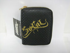 NEW NO FEAR SO CAL BLACK GOLD LEATHER ZIPPERED BIFOLD WALLET MOTORCYCLE MX SALE