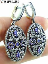 Turkish Jewelry 925Sterling Silver Handmade Amethyst Earrings Victorian E3123