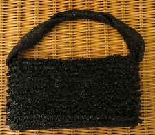 Dressy Black Beaded Medium Box Evening Bag - a Classic Vintage Bag!
