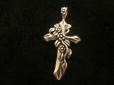 Sterling Silver cross penant flower design, with loop. new in box