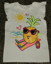 """NWT Toddler Girls Cap Sleeve """"Pineapple"""" At The Beach Shirt Size 5T"""