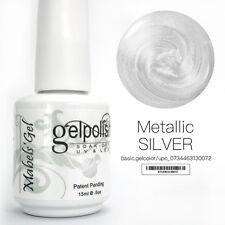 15ml Mabel's Gel Nail Art Soak Off Color UV Gel Polish UV Lamp - Metallic Silver