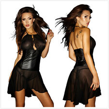 Sexy Ladies Mesh See through dancing clubwear dress faux leather lingerie dress