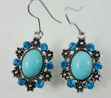 Lotta Style Antiqued Flower Blue Crystal Turquoise Cabochon Dangle Earrings New