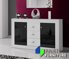 Modern Sideboard / CHEST OF DRAWERS Cabinet / WHITE / BLACK HIGH GLOSS__Agnes 8