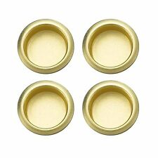 """4 GATEHOUSE Recessed Bypass Sliding Closet Door Cup Pulls Polished Brass 3/4"""""""
