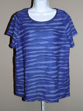 SIMPLY VERA WANG Women's Plus Purple Gray Short Sleeve Textured Top 0X NWOT!