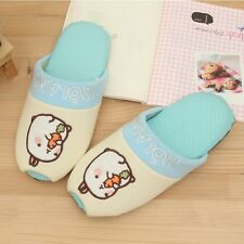 Molang Lovely Cute rabbit Bunny Living Room Shoes (Blue)