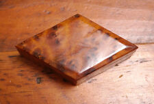 Vintage Solid Redwood Burl Wood Diamond Shaped Small Jewelry Trinket Box