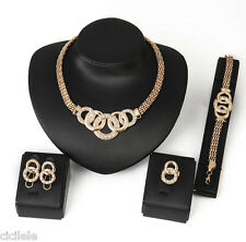 1 Set Fashion Women Jewelry Gold Plated Crystal Necklace Bracelet Earrings Ring