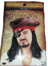 Men's Black Caribbean Pirate Costume Wig & Bandana Fancy Dress