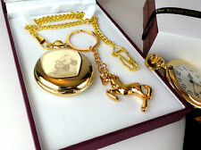 GYPSY Romany 24k GOLD Clad Pocket Watch Horse Keyring Traveller Luxury Gift  Set