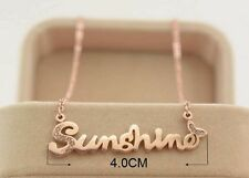 "40mm New Gold Plated Titanium Sunshine Word Pendant Necklace Chain 16""-18"" Gift"