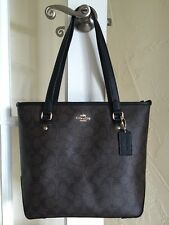 Coach F34603 Signature Zip Top Tote Brown & Black