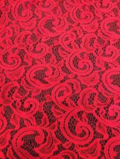 "Red Lace Fabric - Floral Stretch Lycra - 60"" Wide - Per Meter"