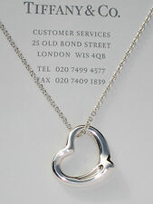 Tiffany & Co Silver Elsa Peretti MEDIUM 22mm Open Heart 16 In Necklace